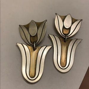 """James Avery Earrings 1 ½"""" Tulips Silver & Brass"""